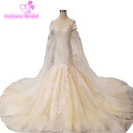 Túnica dubai mariage online-Dubai lujo sirena vestido de novia 2019 Vestido De Noiva vestido de novia con apliques de encaje y velo Robe De Mariage Wedding Dresse
