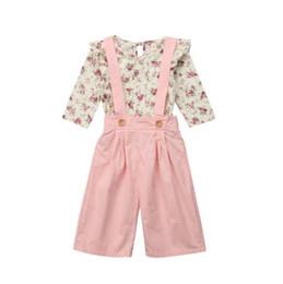 Macacões meninas crianças on-line-Crianças roupas de grife meninas trajes Florais crianças tops Flor + cinta calças 2 pçs / set 2019 Primavera Outono Conjuntos de Roupas de Bebê macacão C6720