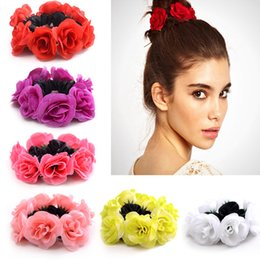 Legame dei capelli del fiore del tessuto online-Big Rose Flower Elastics Hair Holders Elastici per ragazze Girls Women Cute Tie Gum Tessuto Hot Wreaths Crowns Accessori per capelli da sposa