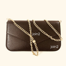 Argentina POCHETTE FELICIE, de alta calidad para mujer de moda con estilo de la cartera de la cadena del cuerpo cruzada bolsa de embrague bolsa de hombro en la lona marrón bolsa de polvo bolsillo con cremallera Suministro
