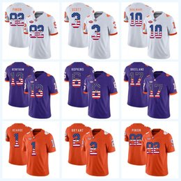 dd03a15942c Clemson Tigers 6 DeAndre Hopkins 90 Shaq Lawson 9 Travis Etienne Jr. 4  DeShaun Watson NCAA College Football Jersey USA Flag Lettering affordable  football ...