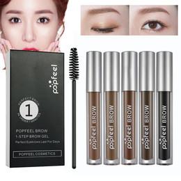 2019 gli occhi grigi chiari Professionale Popfeel Marca Eye Brow Stick 5 colori trucco per le donne Uomini di lunga durata Pigment Nero caffè Brown Liquid Gel sopracciglio con pennello