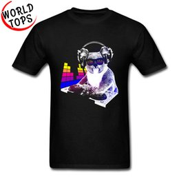 Musica divertente t-shirt online-DJ Rock Koala T-Shirt Music Controller Unit Fashion Cool Uomo Magliette Funny Animal Cotone Hip Hop Bass Band Jazz Magliette Uomo