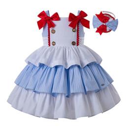 Vestiti da partito di nozze del cotone online-Pettigirl Summer Slubbed Cotton Princess Girl Dress Abito da festa di nozze con copricapo + Doppi fiocchi per bambini vestiti estivi ragazze G-DMGD201-A279