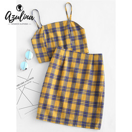 a0d708d379b3e AZULINA Yellow Plaid Sexy Two Piece Set Smocked Back Crop Top And Mini Skirt  Summer Outfits Bodycon Dress Suit Women Sets 2019