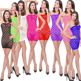 2019 biancheria sexy dei nylon New Womens senza spalline in nylon a rete Chemise Sleepwear Lingerie Nighties Mini Dress gonne per le donne One Size Sexy maglia Baby Doll Dress sconti biancheria sexy dei nylon