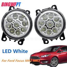 luzes de nevoeiro redondas para carros Desconto 2 PCS LED Frente Luzes de Nevoeiro branco amarelo Car Styling Rodada Bumper Para FORD FOCUS MK2 2004-2010