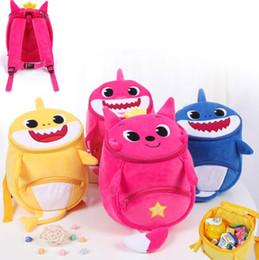 Mochila escola raposa on-line-3D PinkFong Bebê Tubarão Mochila De Pelúcia Mochila Fox Kawaii Dos Desenhos Animados Saco De Escola para Crianças Caçoa o Presente