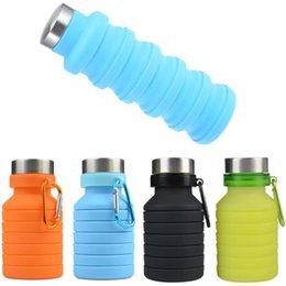 Bottiglie piegate online-Notizie 550 ML 19 oz Portatile in Silicone Retrattile Bottiglia di Acqua Pieghevole Pieghevole Bottiglia di Acqua di Caffè Viaggi Bere Bottiglia Tazze Tazze BPA Libero