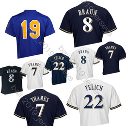 5be5574eb42 22 Christian Yelich jersey Milwaukee 19 Robin Yount Brewers jerseys 8 Ryan  Braun 7  2019 Baseball Jerseys