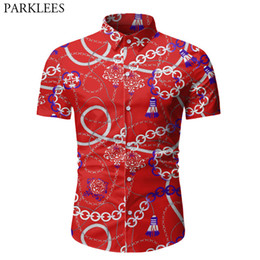 chemise rouge élégant pour les hommes Promotion Chaîne élégante impression rouge Shirt Men 2020 Fashion Brand New Cotton Mens Dress Shirts femme Casual vacances social shirt Camisas 3XL
