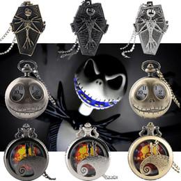 кошмар перед часами Скидка Tim Burton The Nightmare Before Christmas Quartz Pocket Watch Jack Skellington Pendant Retro Bronze Jewelry Fob Necklace Watches