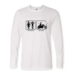 Problemas negros online-2017 verano nueva marca de moda camiseta manga larga algodón causual hip hop negro motocicleta Problema divertido camisetas hombres tops homme D19010901