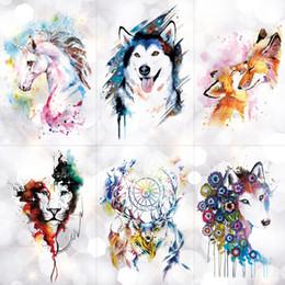 2019 fuchs aufkleber tattoo Einhorn geometrische Rose Fox Wolf wasserdicht temporäre Tätowierung Aufkleber Schwan Elch Tiere Flash Tattoos Body Art gefälschte Tätowierung T190711 günstig fuchs aufkleber tattoo