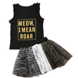 Maglia di leopardo dei capretti online-Ins abiti per bambina in pizzo leopardo Completi per ragazze Vest + gonne tutu Set da bambino Completi per bambini Vestiti per bambini 2019 nuovi vestiti per ragazze estivi M028