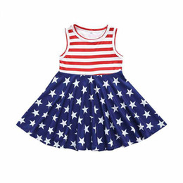 Abiti per le ragazze americane online-Baby Abito a righe senza maniche Girl Stars Splice Dress American Flag Independence Giornata nazionale USA 4th July Kids Boat Neck Princess Skirt
