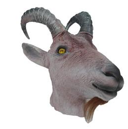 2019 disfraz de carneros Máscara de cabra animal antílope Overhead Látex Máscara realista Ram Cabra del traje de Halloween cosplay disfraz de carneros baratos