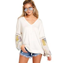 Palhaço v camisetas on-line-V-neck imprimiram a camisa das mulheres de manga comprida solta Outono nova e manga bolha inverno Joker Europa e da jaqueta tamanho Estados Unidos