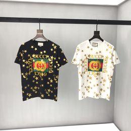 2019 Mens Designer T Shirts Luxe étoiles Bronzing G Lettres Imprimer Des Vêtements à Manches Courtes Femmes Chemises Hommes Femmes Top Qualité