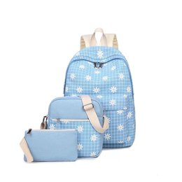 pink bags for flower girl Coupons - Designer-Fashion Composite Bag Preppy Style Backpacks For Teenage Girls High Quality Canvas School Bags Cute flower Set Backpack Female