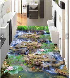 photo sticker wall Coupons - 3d pvc flooring custom photo Sticker Flowing water waterfall landscape flowers lotus squid home decor living room wallpaper for walls 3 d
