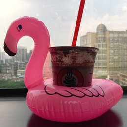 Venta al por mayor Inflables Flamingo Bebidas Sostenedor de la Copa Flotadores Bar Posavasos Equipos de baño de flotación Niños tamaño pequeño Venta Caliente desde fabricantes