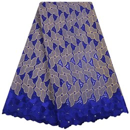 Canada High Quality African Lace For Women Cotton Dry Lace Fabric Swiss Voile With Stones Blue Swiss Voile Lace In Switzerland S1383 Offre