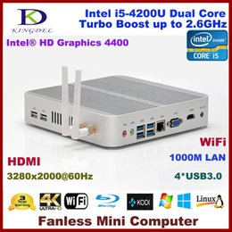 Cpu wifi hdmi online-3 Jahre Garantie Lüfterloser Mini-PC, 4K HTPC, Nettop mit Intel Haswell i5-4200U-CPU, 3280 * 2000, HDMI, 4 * USB3.0, 300M WiFi, Windows 10 Pro