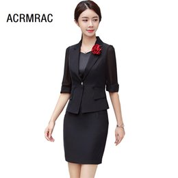 Formale röcke jacken online-Frauen Anzüge schlank Sommer Kurzarm Jacke Rock 2-teiliges Set OL formale Business Damen Rock Anzüge Frau Set 8815