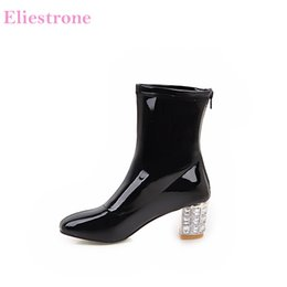 mid heel black patent shoes Coupons - Brand New Winter Fashion Beige White Women Mid Calf Boots Comfortable Black Lady Nude Shoes High Heels AC91 Plus Big Size 10 43