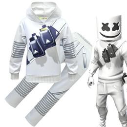 2019 meninos macacão vermelho Marshmello DJ meninos roupas 2019 Primavera Outono Impressão Hoodies Tops + calças com conjuntos de máscara de moda crianças ternos Conjuntos de Roupas Infantis C6475
