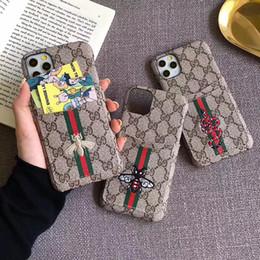 Casos bordados Designer telefone caixa do telefone carteira com cartão de slot para Iphone 11 pro Max telefone caso Marca Capa para iPhone xs xr max 8 7 de Fornecedores de ipad q88 comprimido