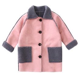 d10543df4b2cd tenue d hiver petite fille Promotion toison simple manteaux longs âge pour  3-10