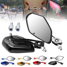 miroirs universels à moteur Promotion 2pcs / ensemble moto moto scooter miroirs universels moto rétroviseurs moto rotation de 360 degrés 8 / 10mm