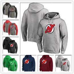 Roter teufel hoodie online-2019 HOODIES New Jersey Teufel 9 Taylor Hall 30 Martin Brodeur 13 Nico Hischier 35 Cory Schneider Red genähte Eishockey Trikots Sport Eis