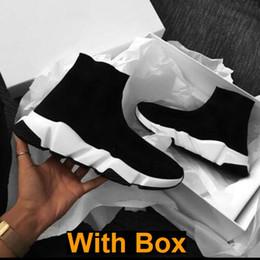сатинировка Скидка С Box 2019 Конструктор носки Скорость Инструкторы Knit Париж Носок обуви Носок Knit Тройной S Сапоги Кроссовки Runner кроссовки размер 36-45 Мужчины Женщины