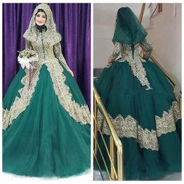 2019 дубаи исламские свадебные платья 2019 Скромное турецкое исламское бальное платье, свадебное платье, корсет на спине, халат De Mariage, золотая кружевная аппликация, хиджаб, дубай, кафтан, мусульманские свадебные платья скидка дубаи исламские свадебные платья
