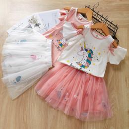 2019 ropa de halloween camisetas 2-7 años ropa para niñas unicornio conjunto blusa de manga corta camiseta + capas de tutú faldas lindas encantadoras muchachas del juego niños niños trajes de verano ropa de halloween camisetas baratos