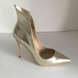 2019 мода свадебные туфли светло-золотой мягкой кожи на заказ плюс размер высокие тонкие каблуки женские туфли на высоком каблуке острым носом женская ну вечеринку обувь S от
