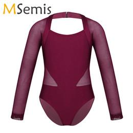 costumi indiani femminili Sconti Body per balletto maniche lunghe per ragazze Body per ginnastica Body per ballerine per bambini Ritaglio posteriore Mesh Splice Tute turnpakje