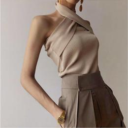 Blusas halter online-Diseñador de las mujeres de las mujeres de punto elástico de fiesta tops 2019 verano de alta moda con cuello halter sin mangas elegante tejido de punto eventos blusa