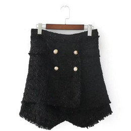 Tweeds kleidung kleidung online-Tweed Elegante Taste Schwarz Shorts Frauen Hohe Taille Stretch Shorts Sexy Korean Fashion Womens Sommer Skort Kleidung 50K127