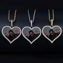 Immagini per amore online-hip hop Foto personalizzate collane con ciondolo a cuore per uomo donna diamanti di lusso amore cuore quadri pendenti regali placcati oro 18 carati