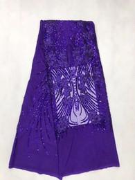 Lila Französisch Afrikanisches Spitzegewebe Guipure Pailletten Baumwollkordel Tüll Nigerianischen Tissu Mesh Indien Spitze Für Hochzeitskleid von Fabrikanten