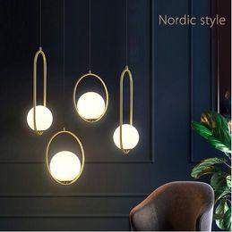 2019 bricolagem suspensão lâmpada pendente Nordic Bola de vidro pingente Luzes Iluminação Industriel de suspensão E27 Lamp Luster glod luxo arte cozinha do hotel hoop decoração luminária