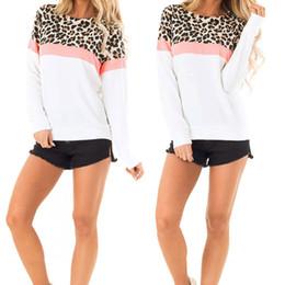 Felpa della ragazza del leopardo online-Progettista delle donne Felpa ragazze camuffamento leopardo Top girocollo abbigliamento caldo superiore di vendita di modo di stile per il commercio all'ingrosso 2019 Autunno formato S-XL