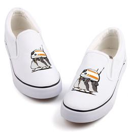 bf856ad1d Estrela bonito Porg Impressão Do Pássaro Da Lona Sapatos Casuais Mulheres  Loafers Personalizado Darth Vader Filme Quente Fãs Sapatos de Lona Slip-On  Sapato ...