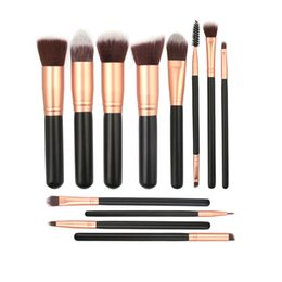 2021 holzbürsten Holzgriff Make-up Pinsel Set Powder Foundation Lidschatten Augenbrauen Wimpern Make-up Pinsel Kits 12 Teile / satz RRA1182