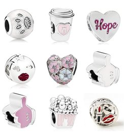 lipsticks day Coupons - 20pcs Coffee Cup Lipstick Popcorn Magnolia Paw Print Silver Charms Bead Pendant Beads Fit European Charm Pandora Bracelet Jewelry DIY Xmas