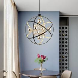 Chrom led leuchtet online-Moderne schwarze metall led pendelleuchte chrom glas ball wohnzimmer led pendelleuchte esszimmer pendelleuchte led hängeleuchten